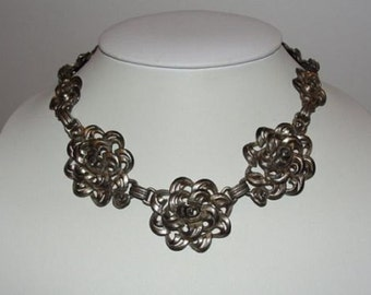 Victorian Pot Metal Floral Necklace and Bracelet Set