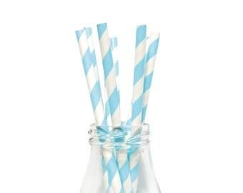 25 Blue Striped Paper Straws, Blue Striped Straws, Retro Straws, Blue Party Straws, Blue  Birthday Straws, Blue Party Straws, Paper Straws.