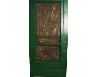 Vintage WOOD SCREEN DOOR Wooden Green Country Rustic Architectural Salvage  Porch Frame Wedding Art Deco Jewelry Display Home House