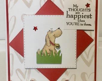 Handmade greeting card with cute dog.