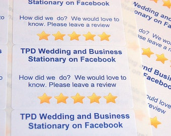 Facebook review labels, customised business labels, sticky labels, printed labels, adhesive review labels, business sticky labels