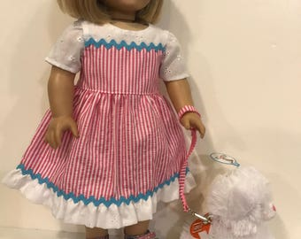 American Girl pink pinstripe and eyelet dress and kitten with leash and collar
