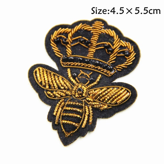 Bees Patch,The Queen Embroidery Patch,Bees Embroidered Patch,Iron on Patch,Sewing on Applique,Embroidered Patch for Garment