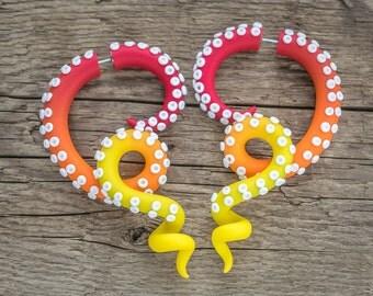 Octopus Plugs, Fake Gauge Earrings, Tentacle Gauges, Ear Plugs, Faux Gauges, Tentacle Earrings, Octopus Gauges, Dangle Plugs, Ear Gauges