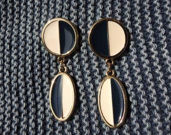 Monet Navy Blue and White Dangle Pierced Earrings Signed