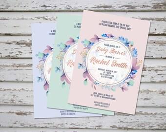 Lavender Floral Baby Shower Invitation, Floral Printable Baby Shower Invite, Lavender Baby Shower Invite, Floral Mint Pink Baby Shower DIY