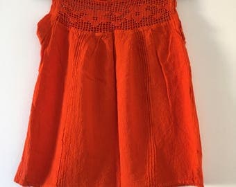Traditional Mexican Orange Blouse of Manta