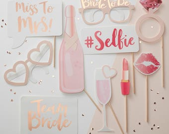 Hen Party Photo Booth Props - 10 Pack - Team Bride | Bachelorette Party | Rose Gold | Blush Pink | Hen Party Photo Props | Bridal Party