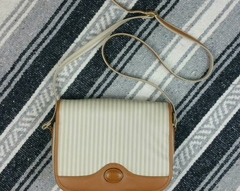 Vintage 1990s Striped Cream & Brown Leather Cross Body / Purse