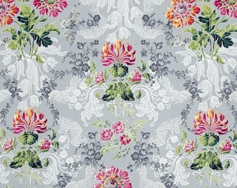 Jenny Jane Metallic Floral Damask pewter/silver  OOP -  cotton quilting fabric by the yard