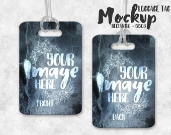 Wide Rectangle Luggage Tag mockup template | Bag Tag Template | Briefcase Tag Template | Digital Download | Stock Photography