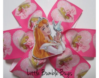 Baby/Toddler/Girl/Adult 3.5 Inch Pinwheel Hair Bows on Lined Alligator Clip - Sleeping Beauty - Aurora