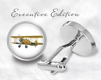 Biplane Cufflinks - Airplane Cuff Links - Plane Cufflinks - Pilot Cufflink (Pair) Lifetime Guarantee (S0346)