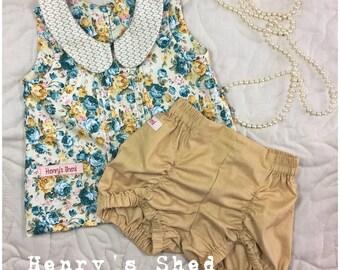 Pintuck blouse, pintuck shirt, girls set, peter pan collar, pucker shorts