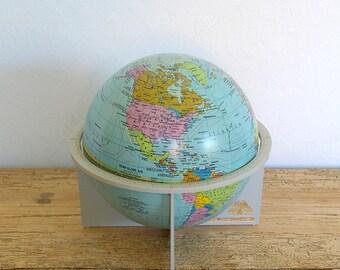 Vintage globe saving bank promotional.Scan Globe.6 inch globe.Home decor desk.Tin globe plastic stand.Nursery decor.Childs room decor
