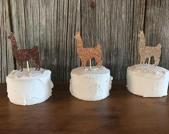 Llama glitter cupcake toppers