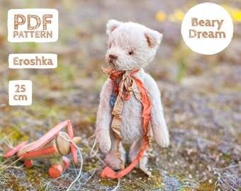 Artist Mohair Teddy Bear pattern, teddy bear pattern, teddy pattern, stuffed toy pattern, soft toy pattern, 25 cm, Erosha