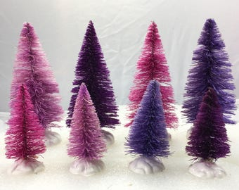 Shades Purple dyed sisal tree set of 8: Violet purple, lilac purple, lavender purple, deep purple