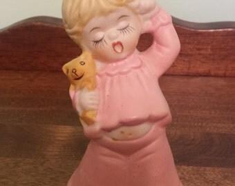"4 1/4"" Tall Little Girl with teddy bear Bell Figure"