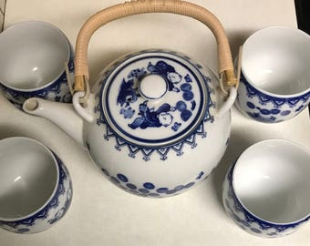 Tea Set with little blue men Made In Japan