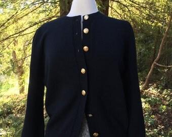 Vintage 80's Black Wool Cardigan  *  Size Medium * Gold Button Front