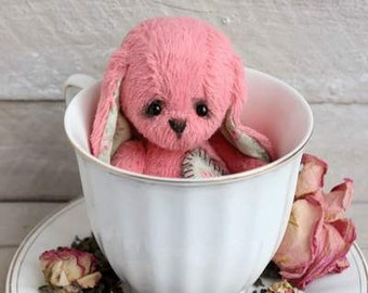 "Stuffed bunny.""ROSE TEA"".Bunny. Stuffed rabbit.Rabbit.Teddy Bear.Vintage teddy.Old teddy.Torture teddy.Artist teddy.Teddy"