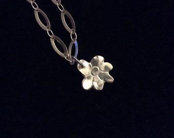 Sterling silver bracelet  with fine silver flower charm