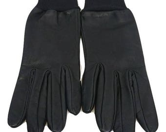 VINTAGE Leather Gloves Size 7 Black 100% Leather Gloves Evening Gloves  Formal Gloves Driving Gloves Outdoor Womens Gloves - Free Postage