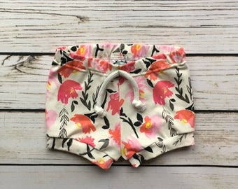 Pink Floral Shorties // baby shorties // toddler shorties // floral shorts // summer style // gift idea