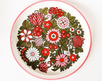 Colorful tin plate - Vintage Hippie 60s 70s design in pink, red and green - Summer time flower design tray
