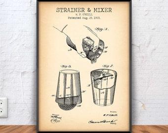 BAR MIXER poster, bar mixer patent, bar mixer blueprint, bar mixer illustration, mixed drink, coctail, restaurant, bar decor, graphic #1003