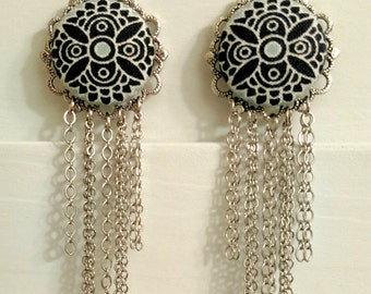 Pale Blue Black and White Statement Button Earrings with Silver Chain Fringe
