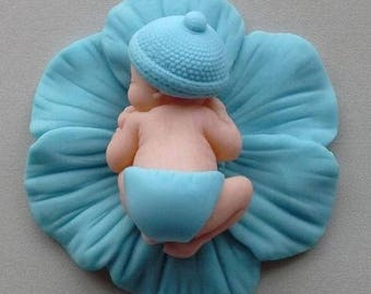 Sleeping Baby boy blue Anemone flower edible cupcake cake toppers chistening