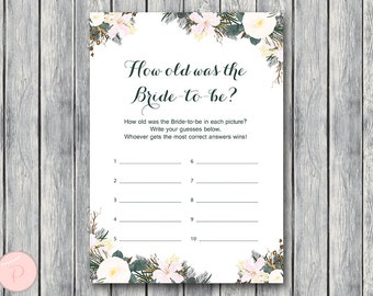 White Floral How old was the Bride to be Bridal Shower game, Guess the age of Bride, Bridal shower game, Bridal shower activity WD74 TH21