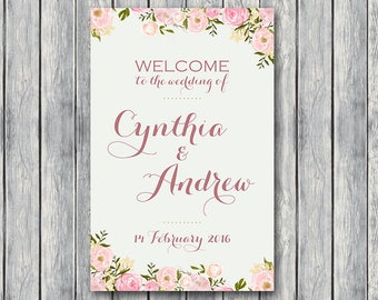 Personalized Welcome wedding sign, Personalized Wedding Sign, Wedding Decoration Sign, Printable sign DIY Print WD67 WS15