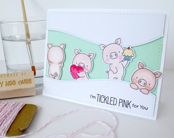 Handmade Card with Pigs