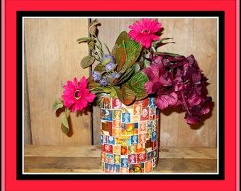 Glass vase in stamp style.