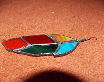 Feather design, hand made, stained glass/lead, sun catcher