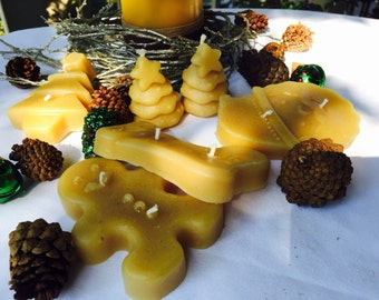 Christmas Candles,Pure Beeswax,Snowflake,Christmas Tree, scented,organic beeswax,gift set-100% pure beeswax,floating beeswax candles