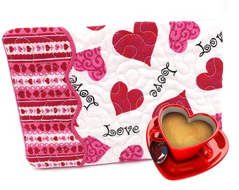 Valentines Day Hearts Mug Rug Valentines Placemat Valentines Day Gift Valentines Day Decor Quilted Placemat Red Pink Hearts Ready to Ship