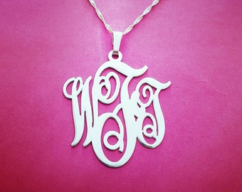 Monogram Necklace White Gold Monogram Necklace By Christmas Monogram Necklace Designer Monogram Charm Monogram Locket Necklace Monogrammed