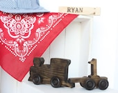 Old-fashioned Wood Toy Engine Train Cake Topper with Number Cart, Train Engineer, Personalized, Engraved, Smash the Cake, 1, Conductor