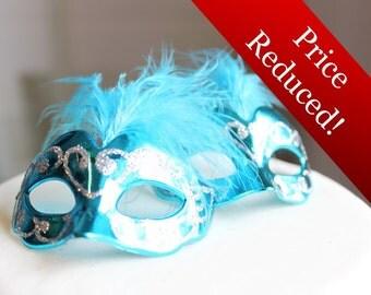 Miniature, Mini Masquerade Masks (Turquoise) Cake Topper, Cupcake Topper, Paris Decoration, Centerpiece Decor, overthetopcaketopper