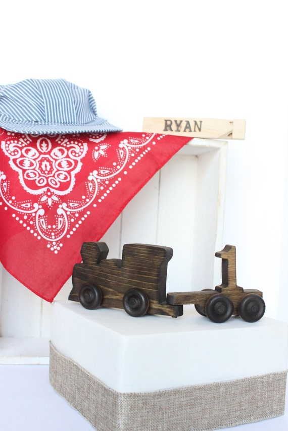 -fashioned Wood Toy Engine Train Cake Topper with Number Cart, Train ...
