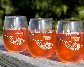 Custom Wine Glasses, Etched Wine Glasses, 12 Engraved Stemless Wine Glasses, Bridal Party Favors, Engagement Gift, Rehearsal Dinner, Laser