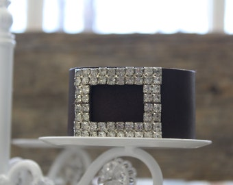 Rhinestone Clip Leather Cuff