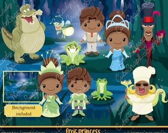 Princess and the frog clipart, Princess clipart, Princess digital clipart, disney inspired clipart, tiana clipart -LN0157-