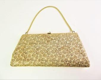 Gold evening bag / purse, clutch bag, lurex, chain handle 50s / 60s