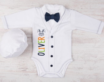 Easter Baby Boy Outfit, Personalized Cardigan, Bodysuit, Hat & Bow tie White/Navy Set, First Easter Boy Outfit, 1st Easter Clothing Set
