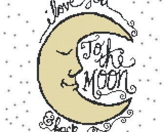 Endless Inspirations Original Cross Stitch Pattern, I Love You To The Moon And Back, Instant Download, PDF Pattern